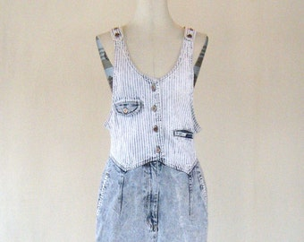 Squeeze Striped Denim Acid Wash Jumper Dress