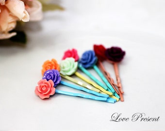 Christmas Bridesmaids Hair Accessories - Colorful Petite Rose French Bobby Pin - Choose your color
