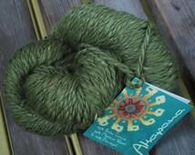 WORSTED Weight Yarn - Leaf Green Baby Lama, Donegal and Merino Wool - Mirasol Akapana - 50g - Grass Leaf  Moss