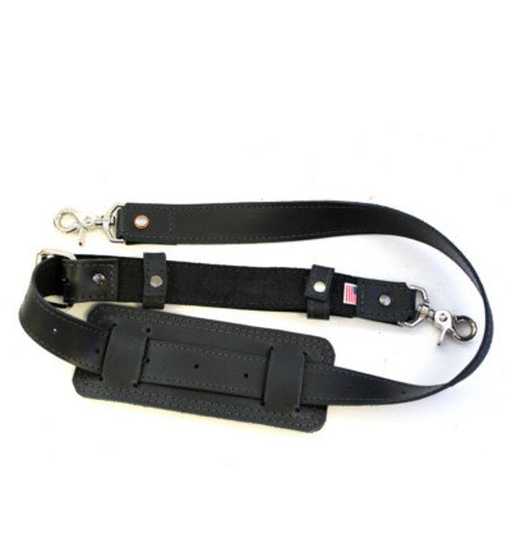 Leather Shoulder Strap - Hand made in the USA - Thick Full Grain Leather - Classic Black