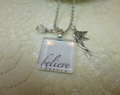 Believe Glass Tile Necklace with Baubles on Ball Chain Fairy Necklace