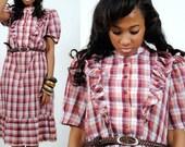 Prairie Dress - Midi Red Plaid Dress - M - L - Medium - Large