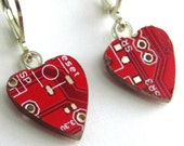Circuit Board Earrings -- Red Hearts -- for your Techie Princess