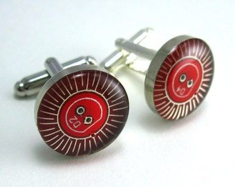 CLEARANCE  Circuit Board Cufflinks -- Red, Domed Round Roulette Pattern