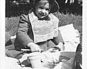 Little Girl  Pretty Jacket Hat Bib Picnic preparing Sandwich w/ Butter knife 1950'S