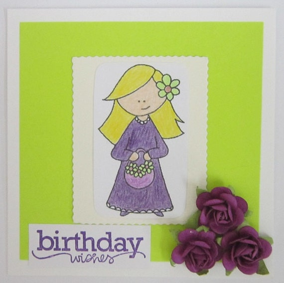 Birthday Wishes Green & Purple Card