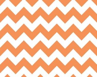 Riley Blake Designs - 2 Inch Chevron - Orange - Cotton Fabric - 1 Yard