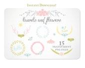 Pastel Laurels and Flowers Design Elements - Instant Download - set 3