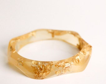 boho bracelet - double gold wavy eco resin bracelet bangle