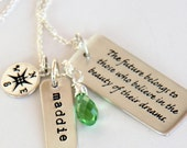 Graduation Necklace, Graduation Gift For Daughter, College Grad- Compass, Dream, Class of 2017, Future Quotes for Grads, Future, Believe