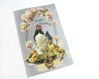 Antique Tuck's Easter postcard 112, embossed, hen and chicks, daisies, metallic silver, Edwardian, vintage 1910s