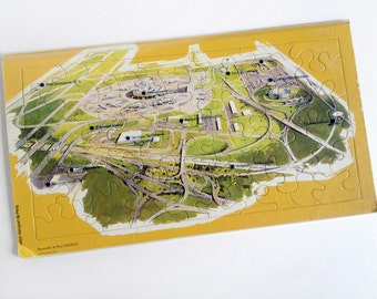 Charles de Gaulle Airport jigsaw puzzle, vintage 1970s, Aéroport de Paris, France, aviation, map, Paul Lengelle watercolor, airline