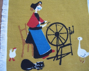 Spinning woman 2. Near mint Jangaard of Denmark cocktail napkin, mcm, collectible textile, fairy tale. Excellent condition.