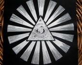 All Seeing Eye Pyramid handmade screen printed back patch, white on black