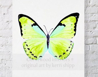 Watercolor Print Butterfly in Green 11x14 - Green Butterfly Art Print by Kerri Shipp - Butterfly Print - Papillon Series