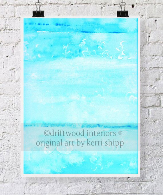 """Turquoise Abstract Watercolor Print - """"Resist in Turquoise"""" 11 x 14 - Abstract Art - Turquoise Watercolour Print - Abstract Print"""