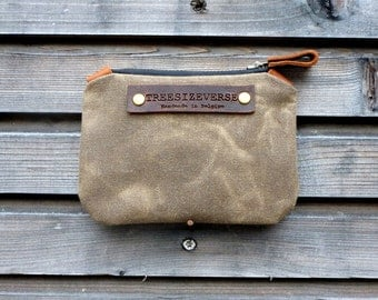 Waxed canvas small pouch / small zipper pouch / coin purse