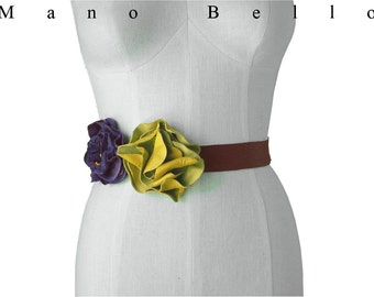 Rustic Leather Flowers Leather Flower Belt,Bohemian Boho Wedding Rustic Woodland  Yellow & Deep Lilac Floral Sash, S, M, L , XL in stock