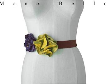 Rustic Leather Flower Sash Dress belt Leather Flower Belt,Boho Wedding Rustic Woodland Wedding Yellow & Purple Floral Sash Bridal belt