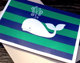 Preppy Whale - 8 Pack Blank Notecards