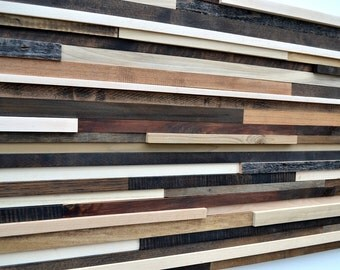 Modern Wood Headboard - Full Headboard - Reclaimed Wood Sculpture SALE 15% OFF with coupon