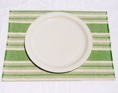 Placemat - Set of Four - Hemp Organic Cotton - Green Natural Stripes - Eco Friendly Home