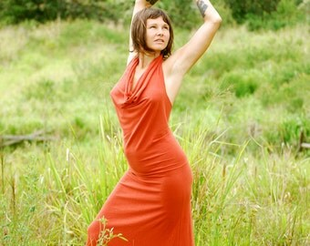 Backless Maxi Dress - Draped Halter - Full Length Dress - Eco Friendly Jersey - Organic Clothing