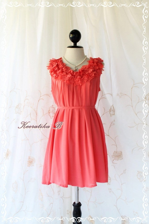 A Party III - Dress - Sweet Party Wedding Bridesmaid Cocktail Dinner Dress Coral Salmon Color Heart Ruffle Around Neck XS-M