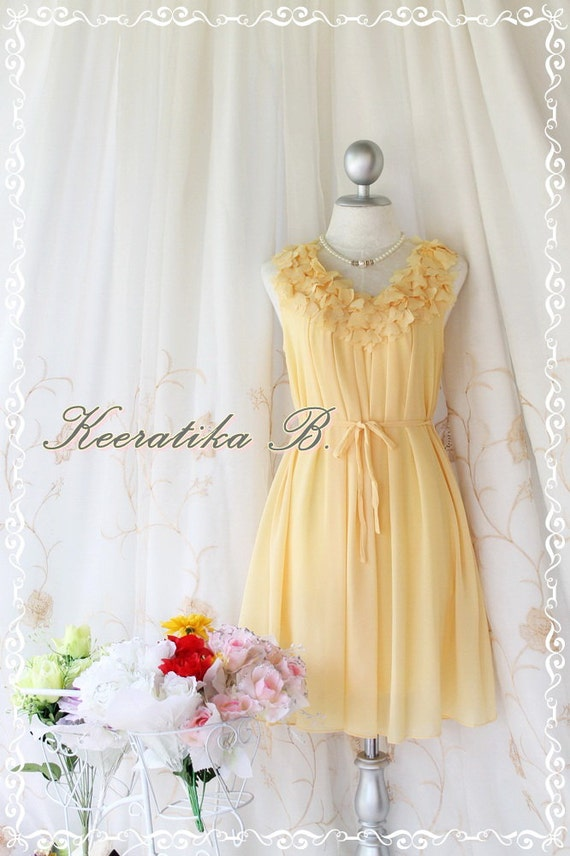 A Party III - Dress - Sweet Party Wedding Bridesmaid Cocktail Dinner Dress Yellow Color Heart Ruffle Around Neck XS-M