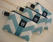 Card, Coin Purse, PADDED Zippered Pouch and Key Ring, Aqua Chevron