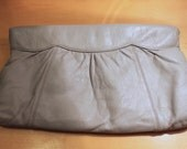 1980s Soft Grey Leather Clutch