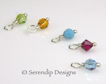 Add 3 Birthstone Dangles Swarovski Crystal 4mm Charms, Three Add On Birthstone Charms, Sterling Silver