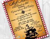 Pirate Birthday Invitations, Printable Custom Invitations by Cutie Putti Paperie