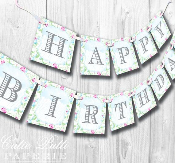 April Showers Party, Spring Party - PRINTABLE BIRTHDAY BANNER - Cutie Putti Paperie