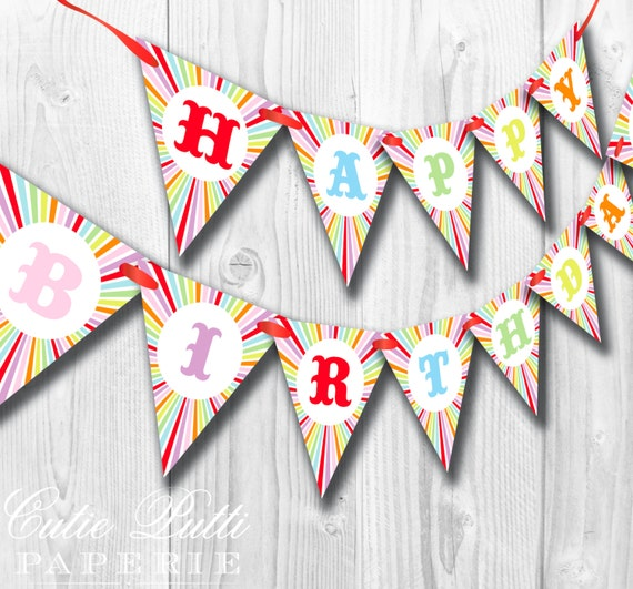 Carnival Party, Vintage Carnival Party, Circus Party - PRINTABLE BIRTHDAY BANNER  - Cutie Putti Paperie