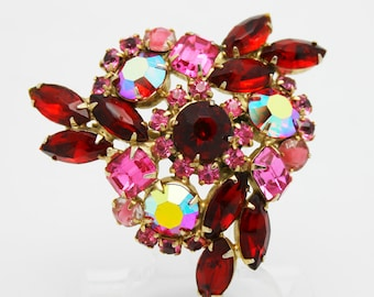Vintage Brooch Pink and Red Large