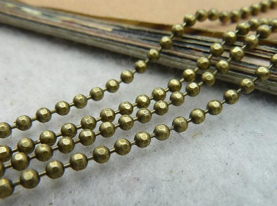 80m 2mm Antique Bronze High Quality Brass Faceted Ball Chain E1032