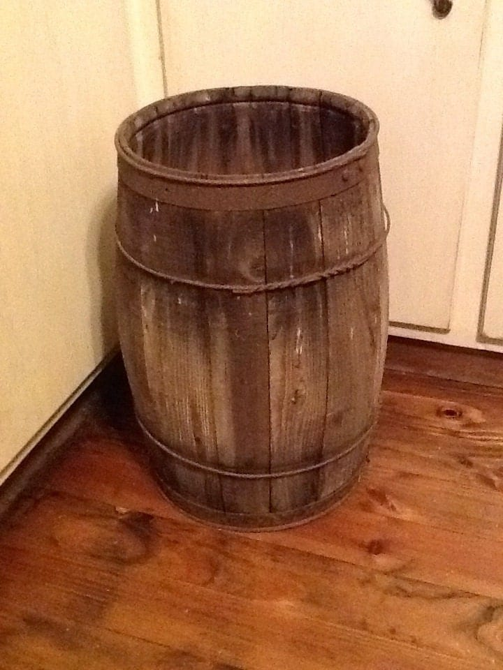 wonderful primitive antique wooden barrel by stonecottagemill