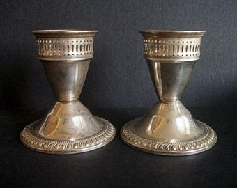 Vintage Sterling Silver Candlesticks by Duchin Creation with Reticulated Rims