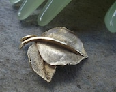 """Vintage 2 """" Brushed Goldtone Double Leaf Pin"""