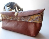 Leather Clutch: Women's Wallet, Medium Brown Leather, Brocade Accent, Specialty Leather