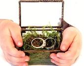 2 x 3 Glass Box, Ring Bearer Box, Wedding Ring Box, Wedding, Personalized, Victorian, Vintage Inspired, Glue Chip Glass, Summer  Wedding