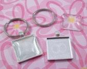 Square Key Chain Kit  Includes Pendant Trays Glass Cabochons Flat Split Key Rings - 100 pcs