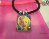 MARILYN MONROE Glass Tile Pendant Necklace