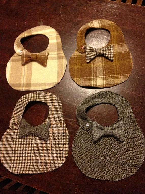 Boys Plaid Tweed Bib Bow Tie Snazzy Dressy Dapper