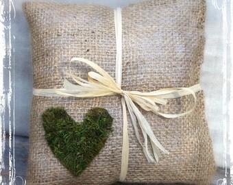 Burlap And Moss Heart Ring Bearer Pillow - Rustic Weddings - Spring Summer Fall Winter Wedding - Woodland Forest Wedding - Moss Green -