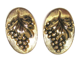 Rare Vintage Grape Cluster Whiting Davis Copper Clip Earrings