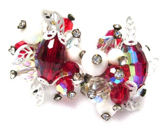 Reduced Vintage VENDOME Signed Earrings-Red/Clear AB Glass Rhinestones & White Glass Beads