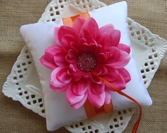 Wedding Ring Bearer Pillow - Fuscia Dahlia on White Tafetta & Orange