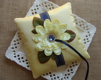 Wedding Ring Bearer Pillow - Yellow Zinnia on Yellow Tafetta